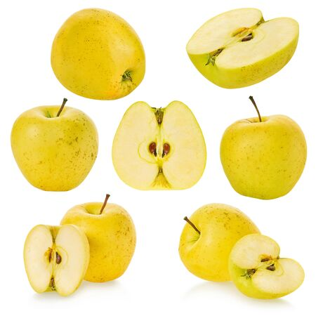 set of apples on a white isolated background with clipping path