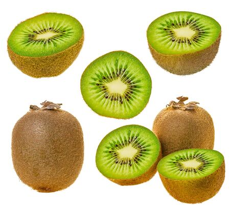 Kiwi fruit whole and sliced isolated white background with clipping path