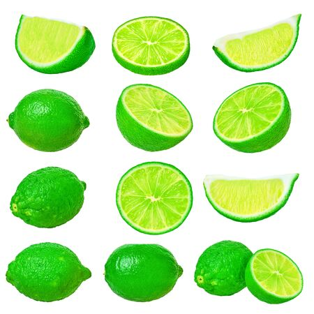 set of lime on a white isolated background with clipping path                                 Stockfoto
