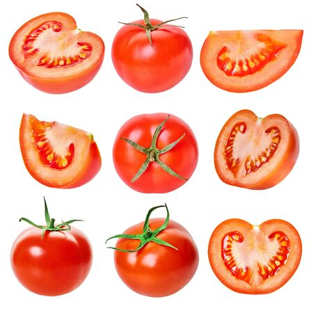 set of tomatoes on a white isolated background with clipping path