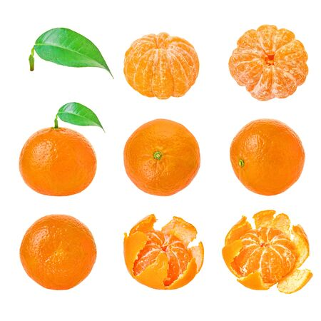 Isolated fruit. Set mandarin white isolated background with clipping path.                                 Stockfoto