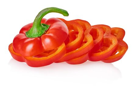 sliced bell peppers with clipping path on a white isolated background