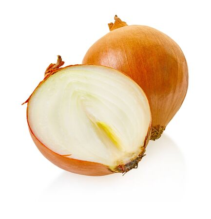 fresh onion vegetable with clipping path on a white isolated background