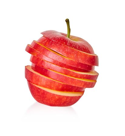 sliced red apple on a white isolated background with clipping patch