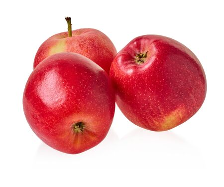 fresh red apples on a white isolated background with clipping patch