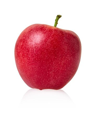 fresh red apple on a white isolated background with clipping patch                            Stockfoto