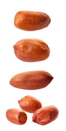 raw peanuts close-up with clipping path on a white isolated background
