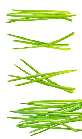 set of green onion with clipping path on a white isolated background