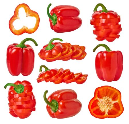 set of fresh bell peppers with clipping path on a white isolated background