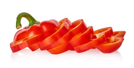 sliced bell peppers with clipping path on a white isolated background Stockfoto