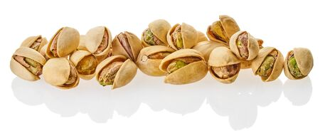 heap of pistachios with clipping patch on a white isolated background