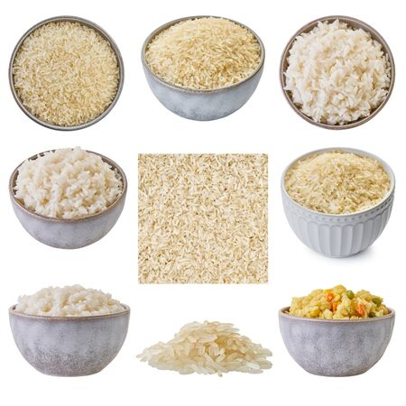 set raw and boiled rice with clipping patch, white isolated background