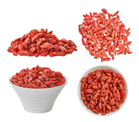 set dried goji berries with clipping patch on white isolated background                                Stockfoto