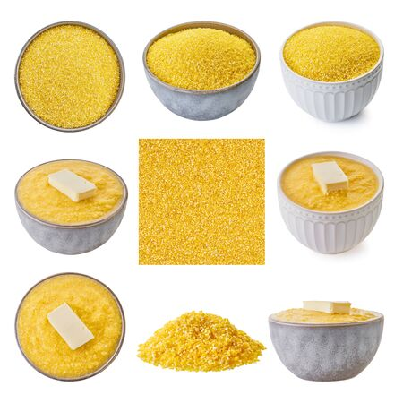 set raw and boiled corn grits with clipping patch, white isolated background