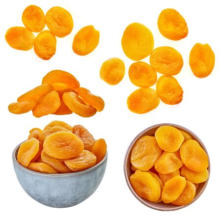 set of dried apricots with clipping patch on a white isolated background