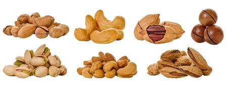 set of assorted nuts with clipping path on a white isolated background