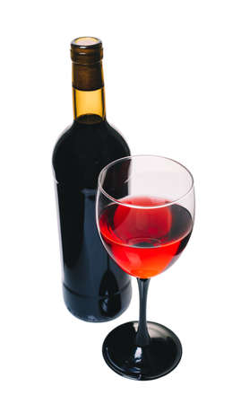 bottle and glass of red wine on white background