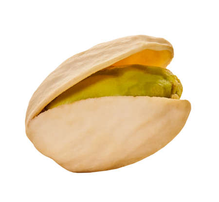 pistachio closeup with clipping path on a white isolated background
