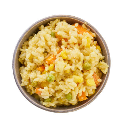 boiled bulgur in bowl with clipping path, white isolated background