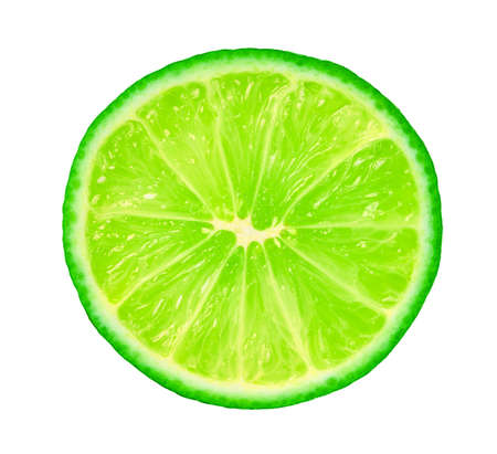 slice lime on a white isolated background