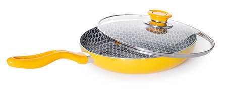 frying pan with lid on white isolated background