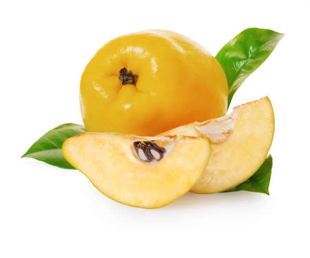 quince fruit on white isolated background with clipping patch