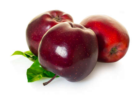 Red apples fruit on white isolated