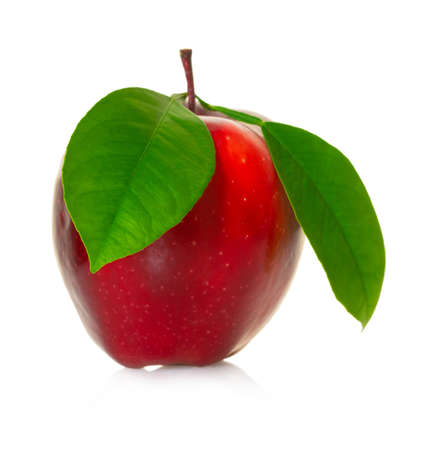 Red apple fruit on white isolated