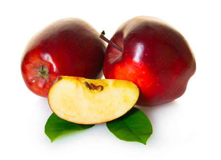 red apples fruit on white isolated background Stockfoto