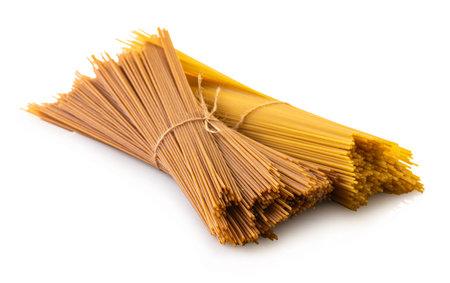 raw spaghetti closeup on white isolated background