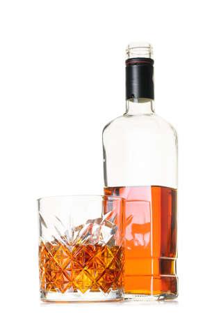 alcoholic drink, whiskey on white isolated background