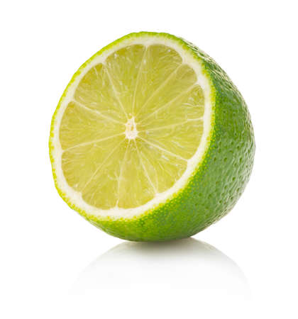 fresh lime on white isolated background with clipping patch