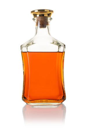 alcoholic drink, bottle of whiskey on white isolated background