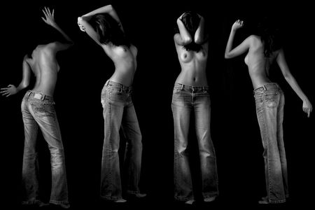 A woman topless in four attitudes Stock Photo