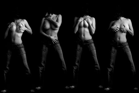 Woman topless in four attitudes Stock Photo
