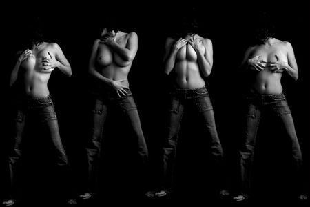 Woman topless in four attitudes Stock Photo