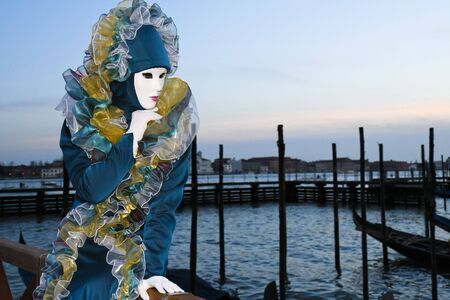A masked woman during the Venice Carnival