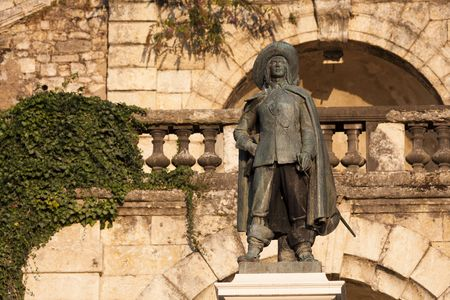 statue of DArtagnan in Auch, in Gascony, in cons diving