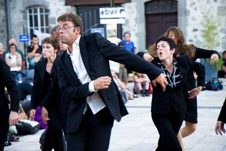 Aurillac International Street Theatre Festival in France, 2010. Show, ...et  les autres by Cie Quai Des Valses. 500 artistics teams,2569 artists,590 shows.