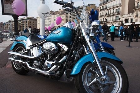 saddlebag: Marseille, France: March 6th, 2011. Motorcycle rally for the Womens Day in the Vieux-Port, Marseille,FR. Editorial
