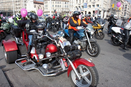 Marseille, France: March 6th, 2011. Motorcycle rally for the Womens Day in the Vieux-Port, Marseille,FR. A chopper.