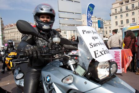 Marseille, France: March 6th, 2011. Motorcycle rally for the Womens Day in the Vieux-Port, Marseille,FR. Editorial