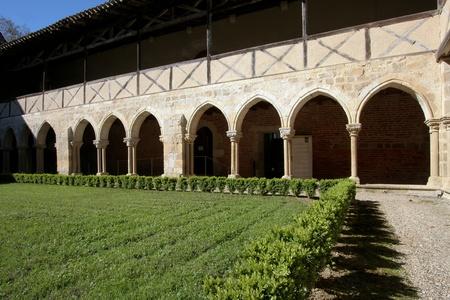 FLARAN, FRANCE, APRIL 5:  the cloister of  Flaran Abbey , a Cistercian monastery of the twelfth century, on April 5, 2011, in Flaran, France.