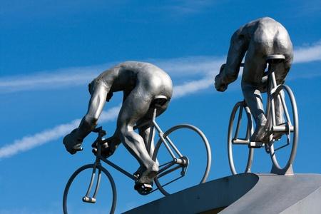 PAU, FRANCE, AUGUST 25:  A fragment of sculpture «Tour de France dans les Pyrenees» by Jean-Bernard Métais, at the highway rest stop «Pyrenees» on the motorway, on August 25, 2010, in Pau, France.