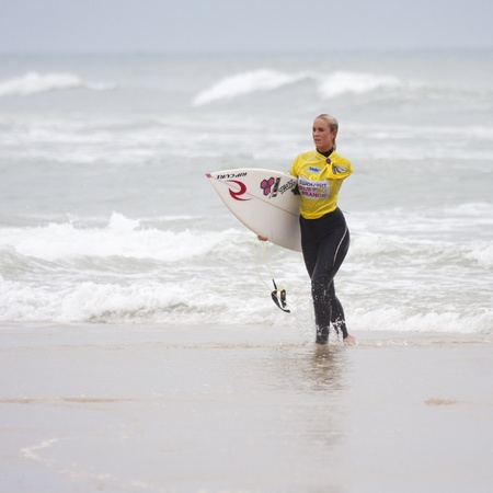 SEIGNOSSE, FRANCE - JUNE 2, 2011:  surfer Bethany Hamilton at the end of her contest  at the Swatch Pro France on June 2, 2011, in Seignosse , France.