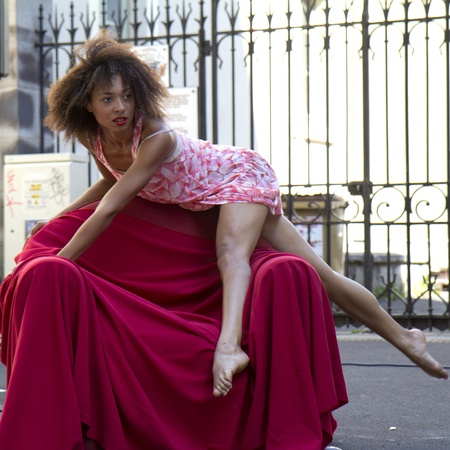 contempory: AURILLAC, FRANCE- AUGUST 19: Aurillac International Street Theater Festival,Cie  Empreintes ,the artist Clémence Baubant is dancing in the street, on August 19, 2011, in Aurillac, France. Editorial