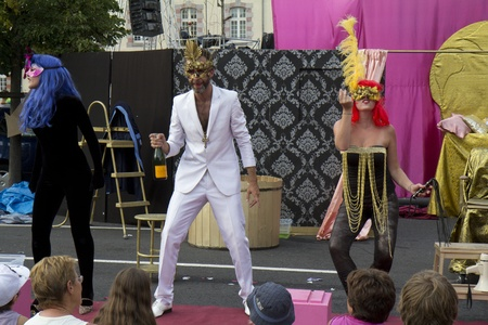 AURILLAC, FRANCE- AUGUST 18:  Unidentified actors play in the street  as part of the Aurillac International Street Theater Festival, Cie