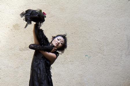 AURILLAC, FRANCE- AUGUST 17: Barbara Murata dances as part of the Aurillac International Street Theater Festival,  show