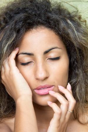 Close-up of female face photo