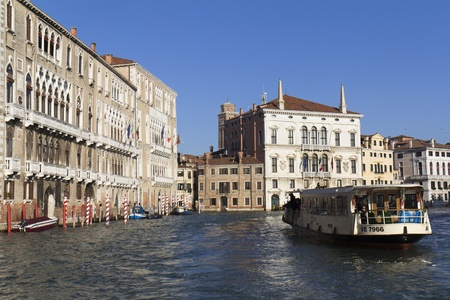 VENICE, ITALY,- NOVEMBER 25: A vaporetto is going slowly on the Grand Canal , on November 25, 2011 in Venice, Italy.  Stock Photo - 11482021